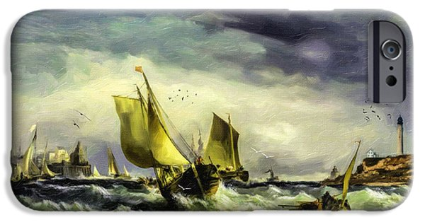 19th Century Digital Art iPhone Cases - Fishing in High Water iPhone Case by Lianne Schneider