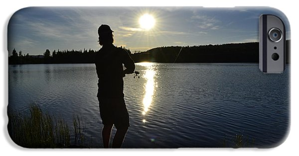 Sunset In Norway iPhone Cases - Fishing in the sunset iPhone Case by Per Kristiansen