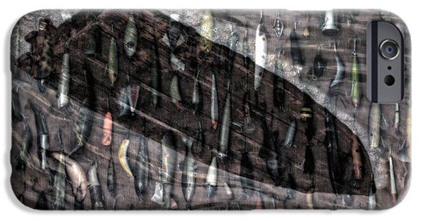 Action Lines Digital Art iPhone Cases - Fishing Lures Merged Image iPhone Case by Thomas Woolworth