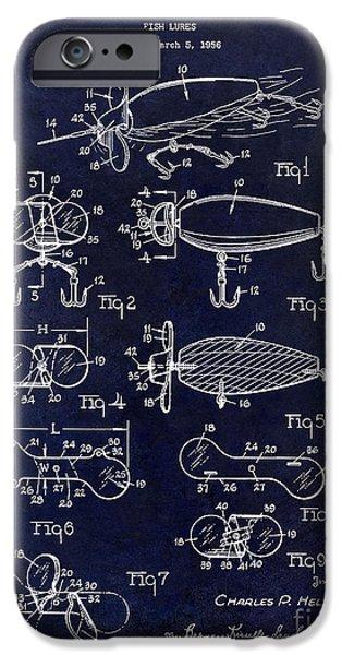 Shark iPhone Cases - 1961 Fishing Lures Patent iPhone Case by Jon Neidert