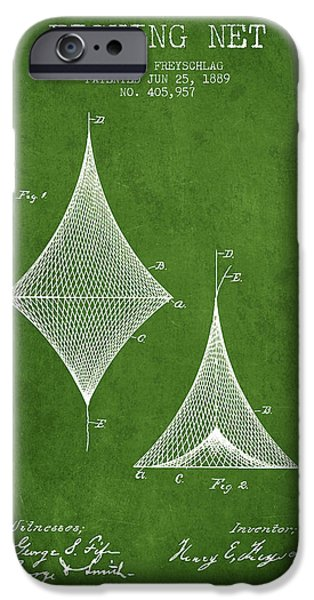 Basket iPhone Cases - Fishing Net Patent from 1889- Green iPhone Case by Aged Pixel