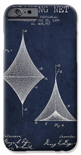 Reeling iPhone Cases - Fishing Net Patent from 1889- Navy Blue iPhone Case by Aged Pixel