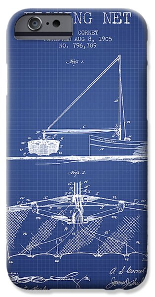 Fishing Boat iPhone Cases - Fishing Net Patent from 1905- Blueprint iPhone Case by Aged Pixel