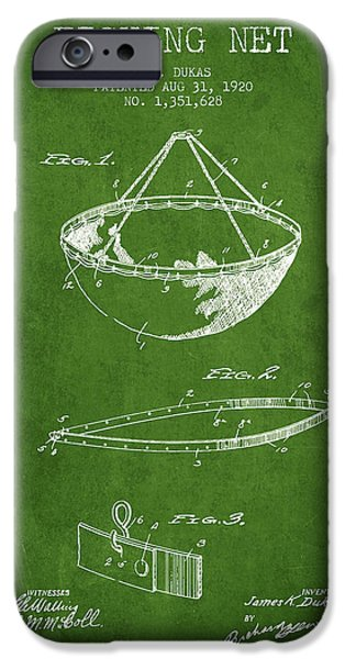 Basket iPhone Cases - Fishing Net Patent from 1920- Green iPhone Case by Aged Pixel