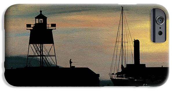 Lighthouse Pastels iPhone Cases - Fishing off the Breakwater iPhone Case by R Kyllo