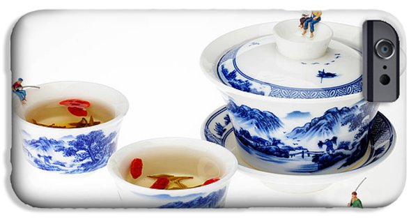 Blue And White Porcelain iPhone Cases - Fishing on tea cups little people on food series iPhone Case by Paul Ge