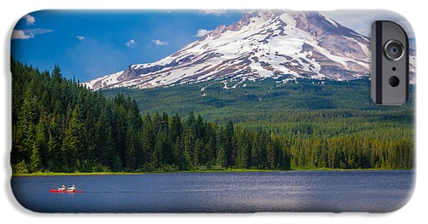 Kayak iPhone Cases - Fishing on Trillium Lake iPhone Case by Inge Johnsson