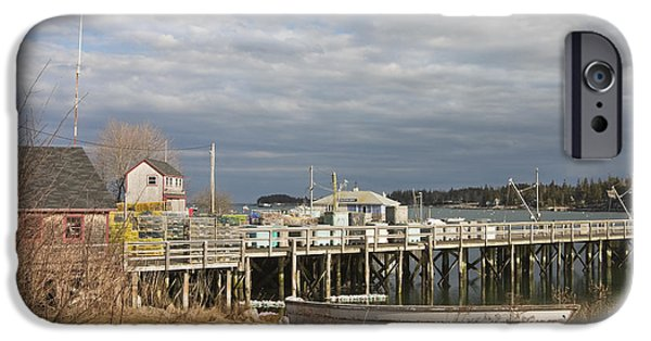 Bouys iPhone Cases - Fishing Pier and Rowboat in Tenants Harbor Maine iPhone Case by Keith Webber Jr