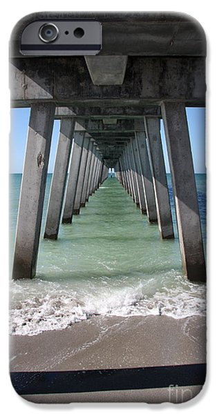 Flag iPhone Cases - Fishing Pier Architecture iPhone Case by Christiane Schulze Art And Photography