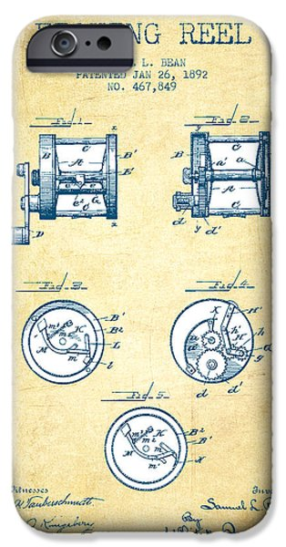 Reeling iPhone Cases - Fishing Reel Patent from 1892 - Vintage Paper iPhone Case by Aged Pixel