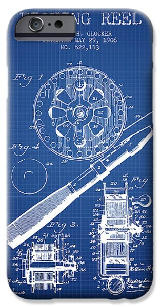 Reeling iPhone Cases - Fishing Reel Patent from 1906 - Blueprint iPhone Case by Aged Pixel