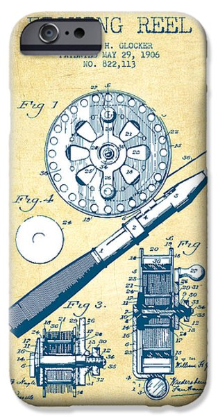 Reeling iPhone Cases - Fishing Reel Patent from 1906 - Vintage Paper iPhone Case by Aged Pixel