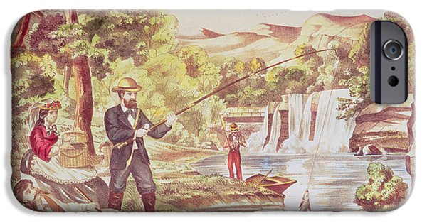Toy Boat iPhone Cases - Fishing Scene Colour Litho iPhone Case by Chas Hart