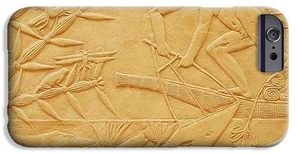 Papyrus iPhone Cases - Fishing Scene, From The Mastaba Of Kagemni, Old Kingdom Limestone iPhone Case by Egyptian 6th Dynasty