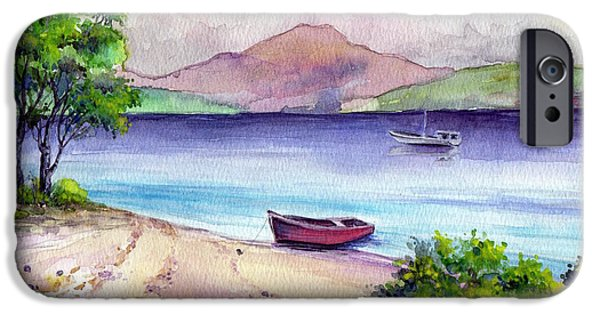 Beach Landscape Drawings iPhone Cases - Fishing Spot iPhone Case by Alban Dizdari