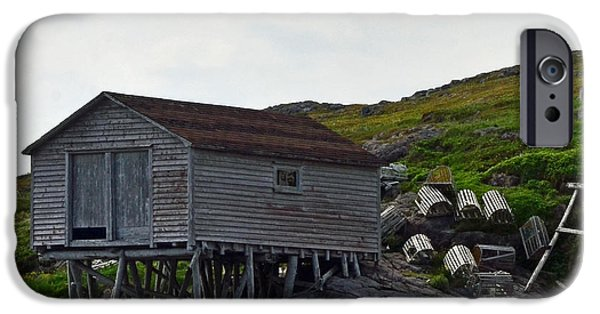 Newfoundland iPhone Cases - Fishing Stage with Lobster Pots Newfoundland iPhone Case by Lisa  Phillips