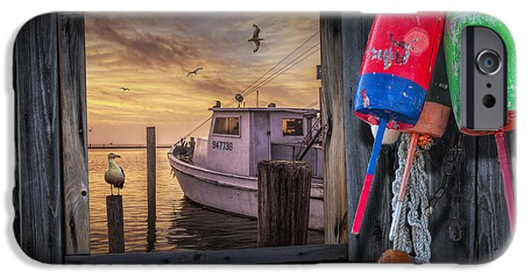 Bouys iPhone Cases - Fishing Boat Harbor Sunrise iPhone Case by Randall Nyhof