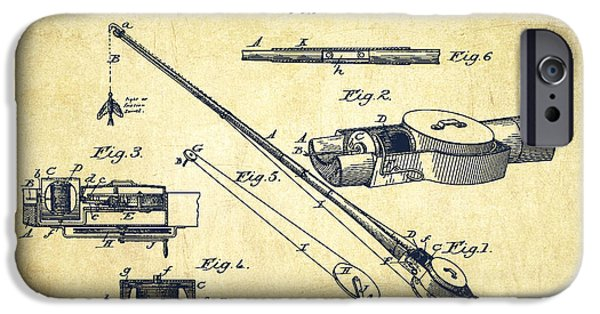 Technical iPhone Cases - Fishing Tackle Patent from 1884 iPhone Case by Aged Pixel