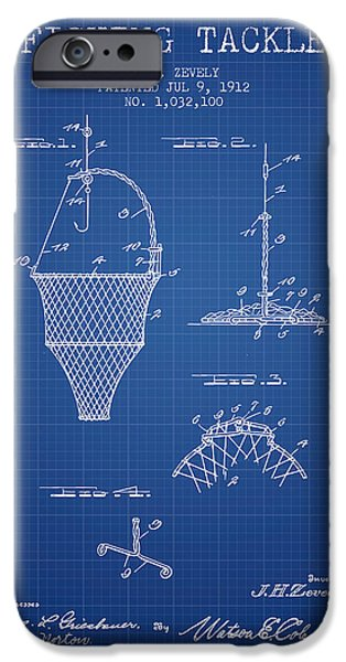 Basket iPhone Cases - Fishing Tackle Patent from 1912 - Blueprint iPhone Case by Aged Pixel