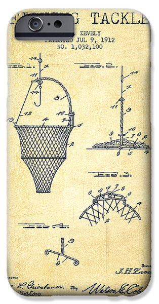Basket Digital Art iPhone Cases - Fishing Tackle Patent from 1912 - Vintage iPhone Case by Aged Pixel
