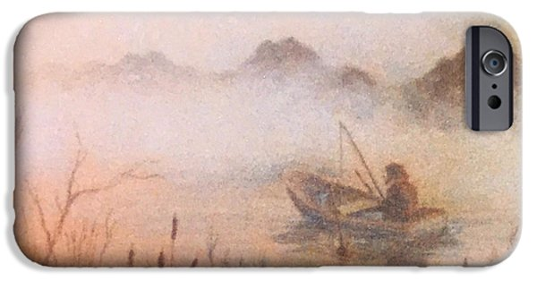 Fishing Pastels iPhone Cases - Fishing iPhone Case by Teresa Ascone