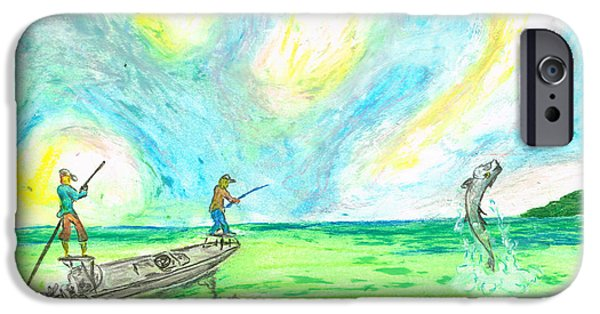 Fishing Pastels iPhone Cases - Fishing The Flats Tarpon iPhone Case by William Depaula