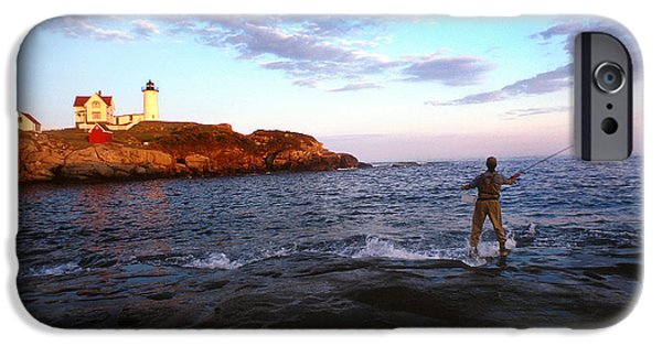 Nubble Lighthouse iPhone Cases - Fishing The Nubble iPhone Case by Skip Willits