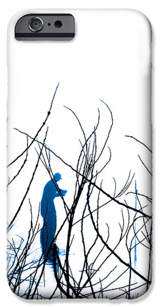 Fauna iPhone Cases - Fishing the River Blue iPhone Case by Robyn King