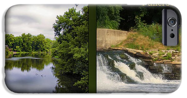 Oak Creek iPhone Cases - Fishing The Spillway Nature Center 02 Fullersburg Woods 2 Panel iPhone Case by Thomas Woolworth