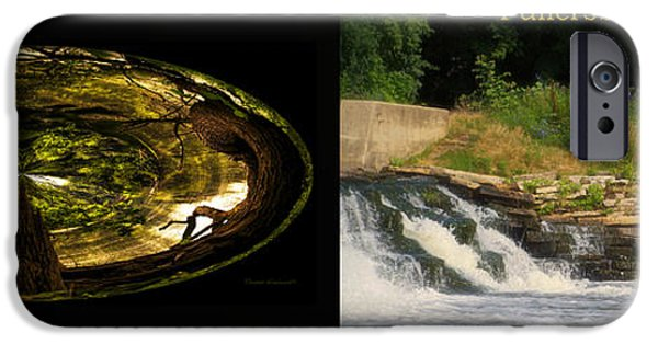 Oak Creek iPhone Cases - Fishing The Spillway Wood Polar View Fullersburg Woods 2 Panel iPhone Case by Thomas Woolworth