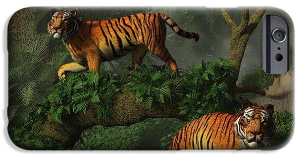 Tiger Digital Art iPhone Cases - Fishing Tigers iPhone Case by Daniel Eskridge