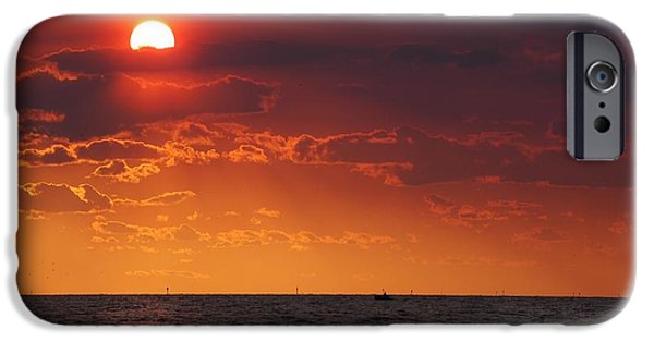 Micdesigns iPhone Cases - Fishing till the sun goes down iPhone Case by Michael Thomas