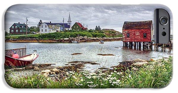 Boat iPhone Cases - Fishing Village - Nova Scotia - Canada iPhone Case by Nikolyn McDonald