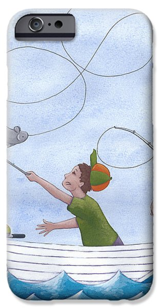 Cute Illustration iPhone Cases - Fishing With Grandpa iPhone Case by Christy Beckwith