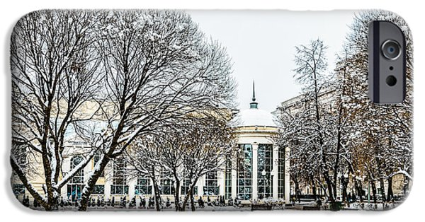Decorative Benches iPhone Cases - First December Snow iPhone Case by Alexander Senin