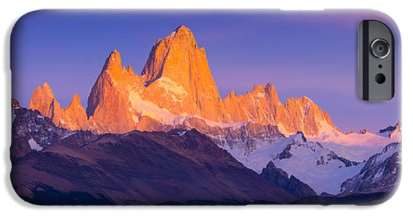 Drama iPhone Cases - Fitz Roy Dawn Panorama iPhone Case by Inge Johnsson