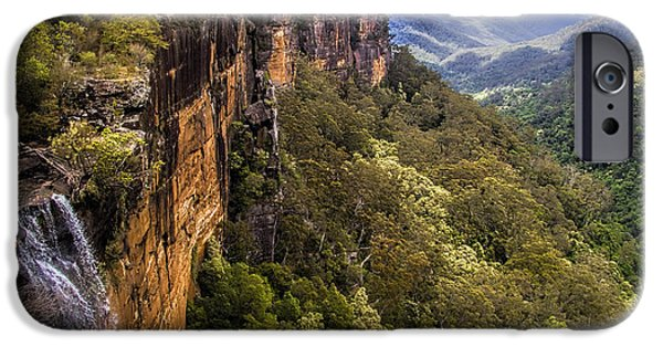Green Foliage iPhone Cases - Fitzroy Falls in Kangaroo Valley Australia iPhone Case by David Smith