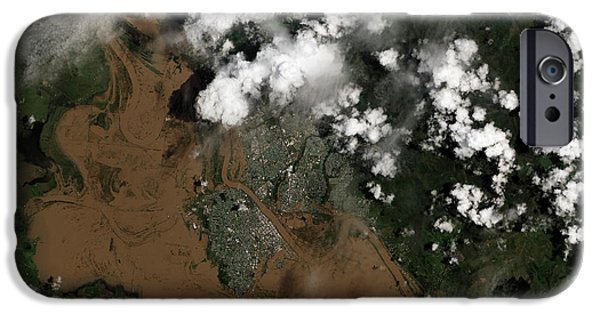 River Flooding iPhone Cases - Fitzroy River Flooding Australia  iPhone Case by Science Source