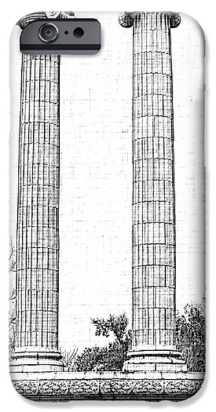 Five Columns Sketchy iPhone Case by Debbie Portwood