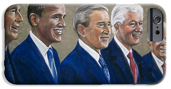 Recently Sold -  - President Obama iPhone Cases - Five living presidents 2009 iPhone Case by Martha Suhocke