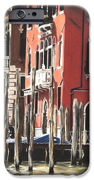 City Scape Pastels iPhone Cases - Five O Clock Sole Diptych- Panel 1 iPhone Case by Michelle Morris