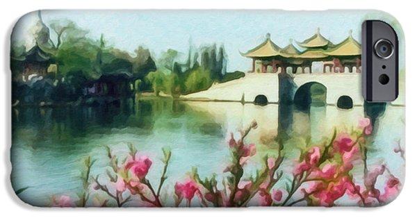 Garden Scene Paintings iPhone Cases - Five Pavilion Bridge Slender West Lake 2 iPhone Case by Lanjee Chee