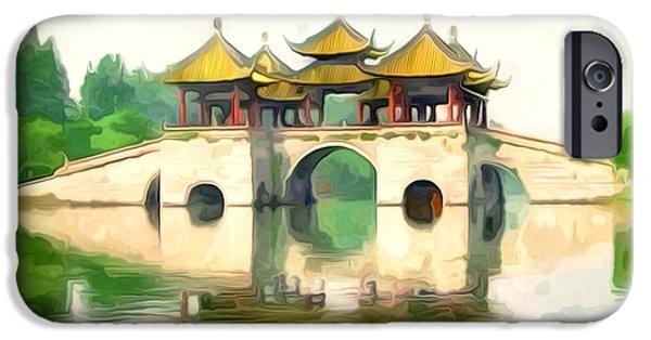 Garden Scene Paintings iPhone Cases - Five Pavilion Bridge Slender West Lake iPhone Case by Lanjee Chee