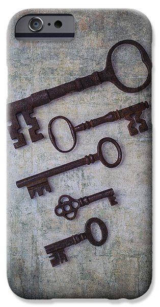 Chip Photographs iPhone Cases - Five Rusty Keys iPhone Case by Garry Gay