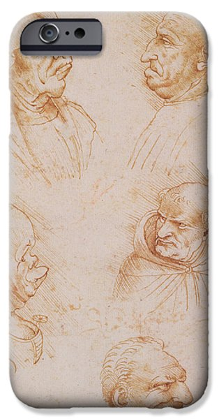 Renaissance iPhone Cases - Five Studies of Grotesque Faces iPhone Case by Leonardo da Vinci