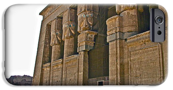 Hathor iPhone Cases - Five Thousand Year Old Temple of Hathor in Dendera- Egypt iPhone Case by Ruth Hager