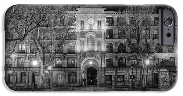 Night Lamp iPhone Cases - Five Till Seven in Black and White iPhone Case by Joan Carroll