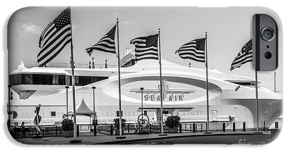 Old Glory iPhone Cases - Five US Flags flying proudly in front of the megayacht Seafair - Miami - Florida - Black and White iPhone Case by Ian Monk