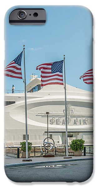 Five US Flags flying proudly in front of the megayacht Seafair - Miami - Florida iPhone Case by Ian Monk