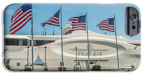 Old Glory iPhone Cases - Five US Flags flying proudly in front of the megayacht Seafair - Miami - Florida - Panoramic iPhone Case by Ian Monk